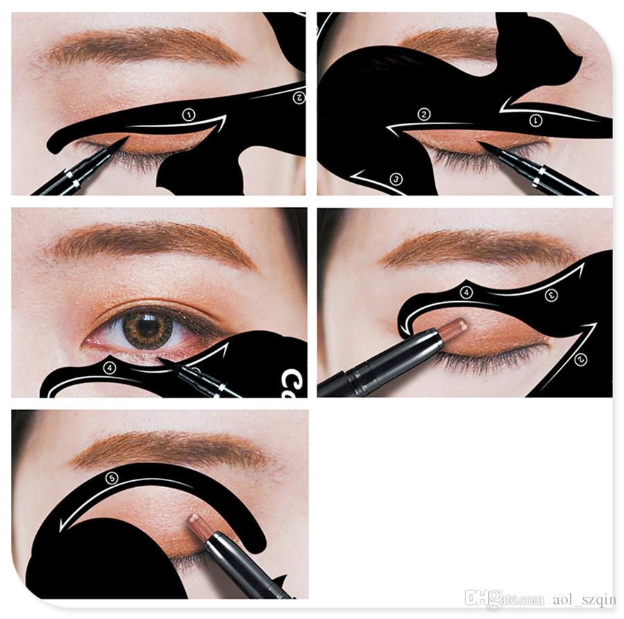 Black Cat Line Eye Make Up Tutorial Eyeliner Stencils Templates 10 Shape of Eye Makeup Tools Kits for Eye Makeup