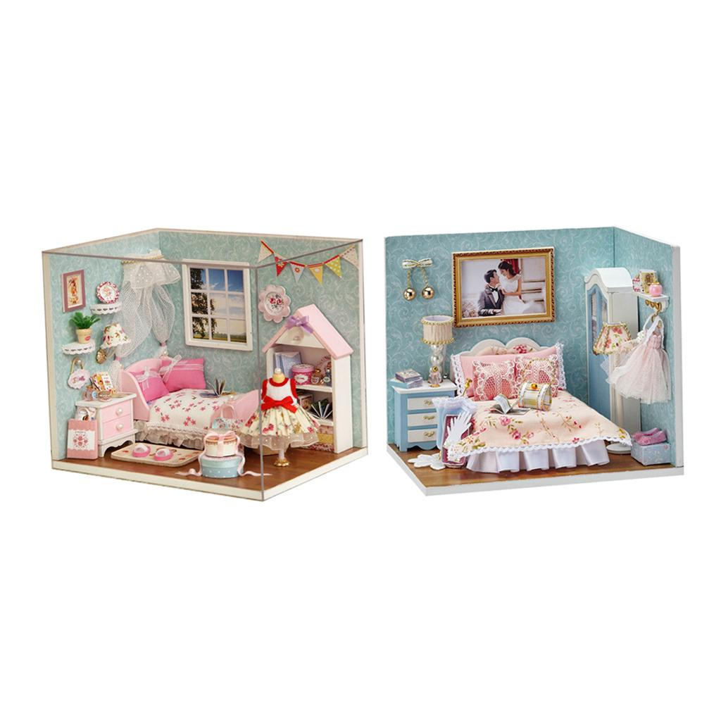 Diy Wooden Miniature Dollhouse Furniture Kit With Dust Cover