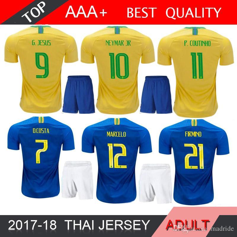 2018 World Cup P.COUTINHO MARCELO ADULT Soccer Jersey G.JESUS RONALDINHO  DAVID LUIZ 18 19 MEN Football Jerseys P.COUTINHO MARCELO 2018 World Cup  Online with ... a7d29081c