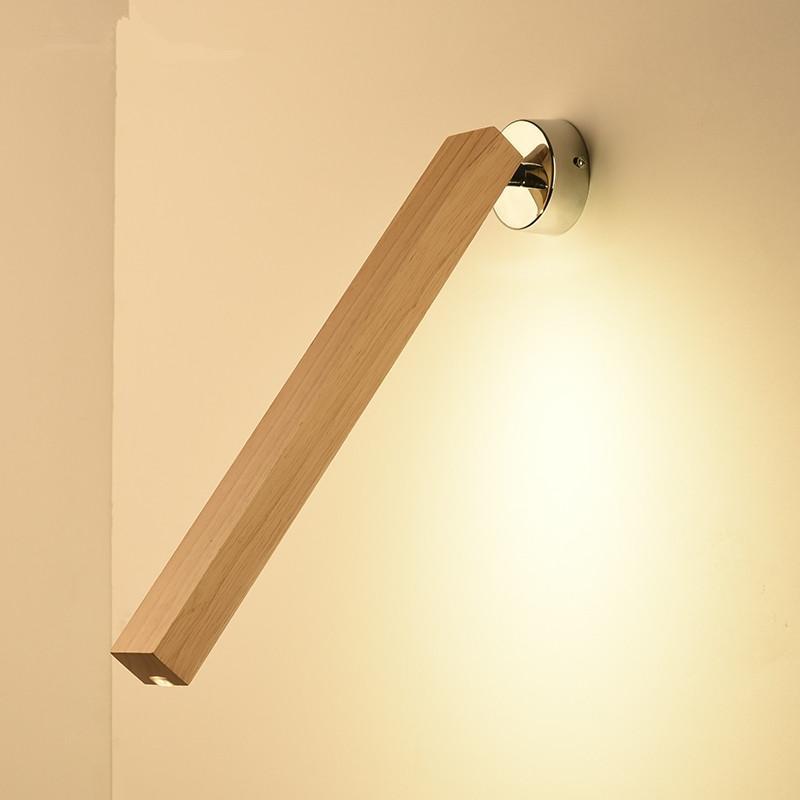 Bois Lampe De Murale Chambre Simple Lampes Longue Lecture Créative 220v Led Moderne En Nordique Hôtel Applique Chevet trhQsxCBod