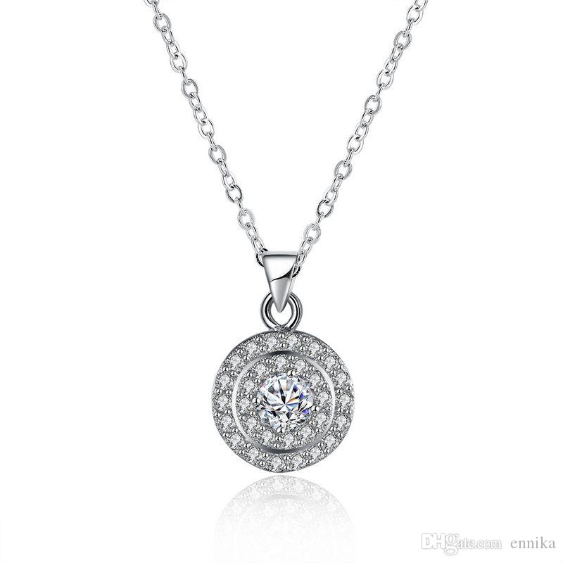 Sterling Silver 925 Necklace Lady Zircon Jewelry Pure Silver Three Circle Pendant Necklace n116