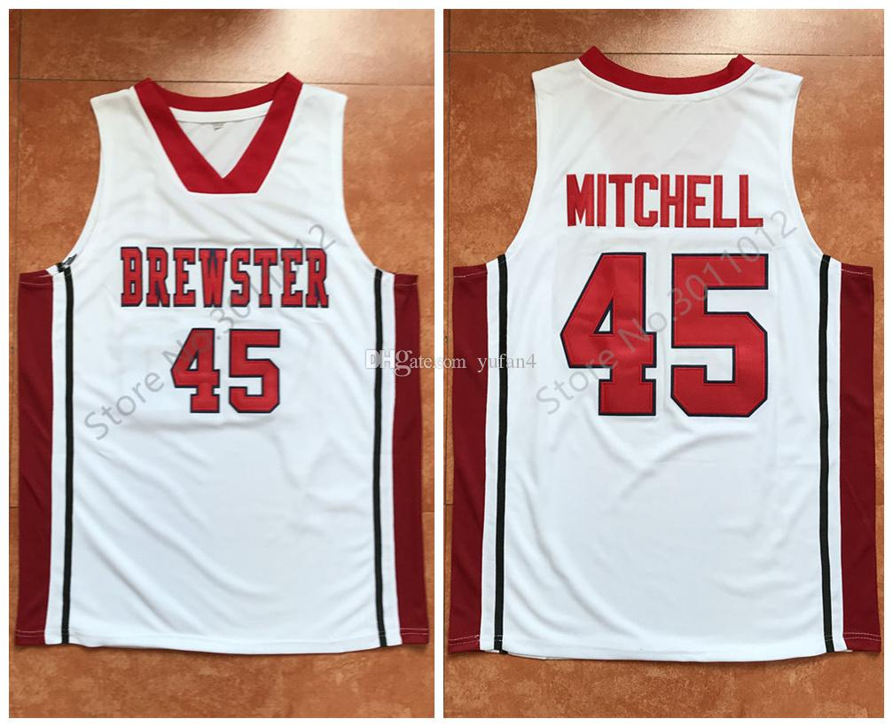 check out 93826 e56af Donovan Mitchell #45 Brewster Academy High School White Retro Basketball  Jersey Men's Stitched Custom Any Number Name Jerseys