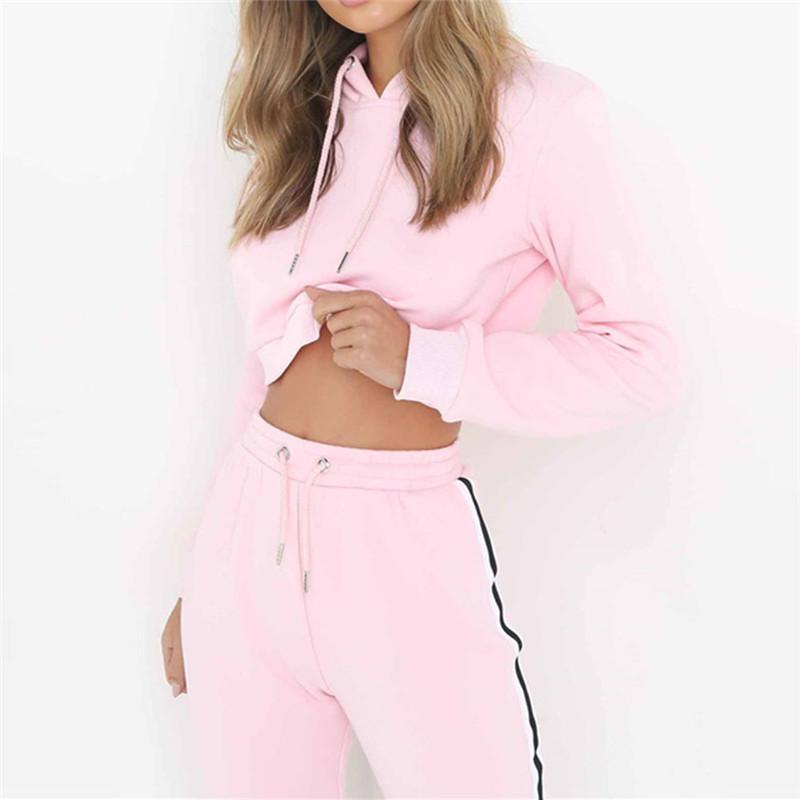 Acheter Survêtements Pour Femmes Roses Costumes De Sport Sweat Et Pantalon  Set Femmes Gym Fitness Cappa Costumes De Jogging Dames Vêtements 2018  C18111201 ... dc248c88a44