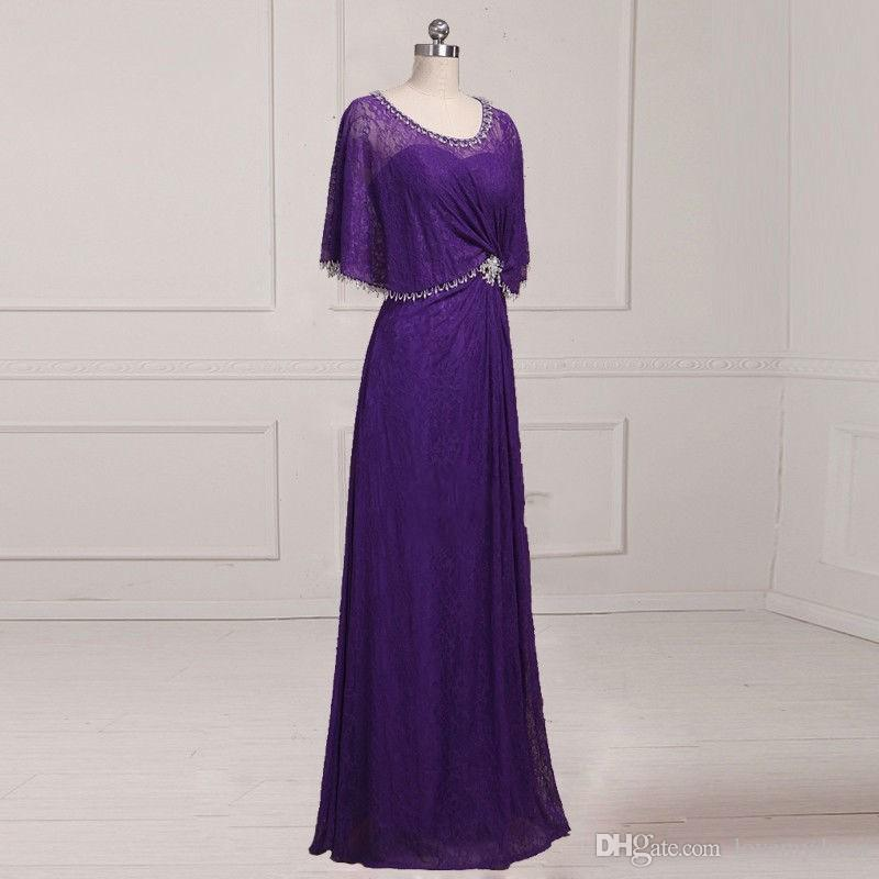 Unique Neckline Designer Purple Mother of the Bride Groom Dresses Jewel With Juliet Sleeves Lace Sheath Rhinestones Beaded Hollow Cheap