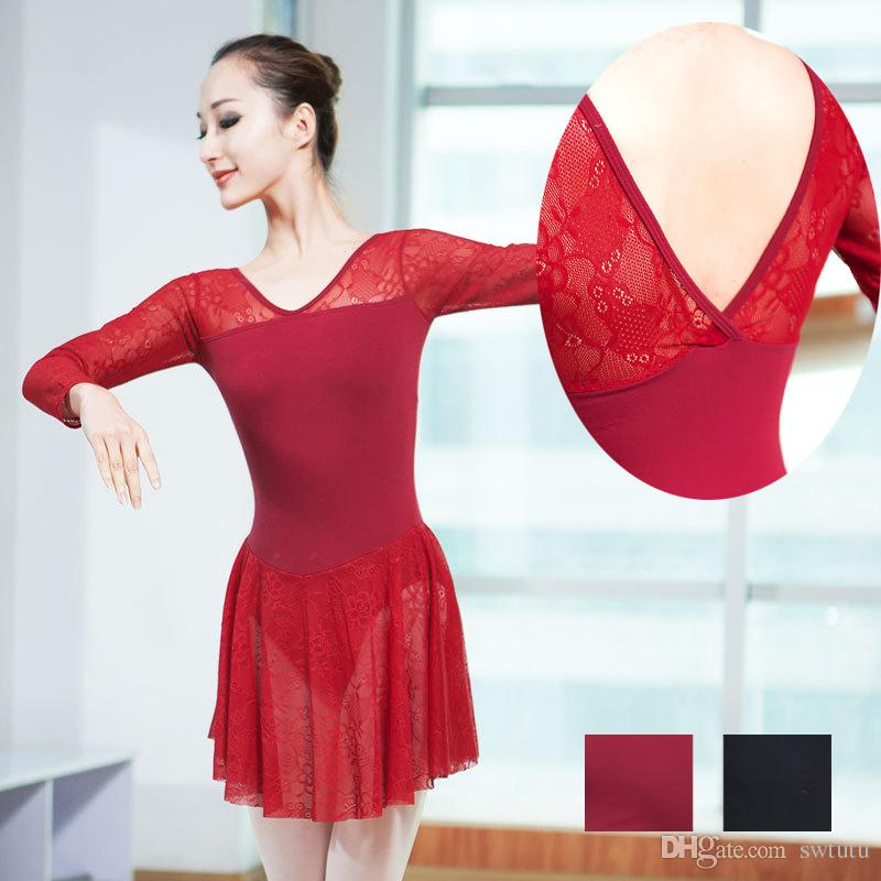 1122f44dbfd0 2019 Cotton Lace Ballet Leotard Dress Girls Adult Dance Lyrical ...