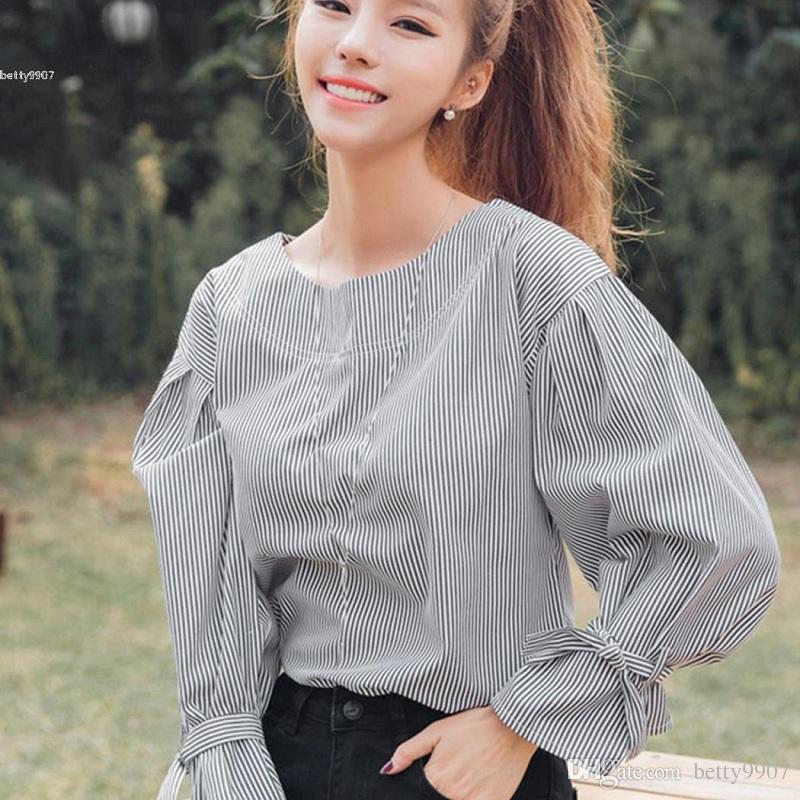 0d20788769e012 Womens Designer T Shirts Striped Loose Casual Round Neck Long Sleeve Lace  Up Cuff 2018 New Autumn Blouse Tops Ridiculous T Shirt Best T Shirts Sites  From ...