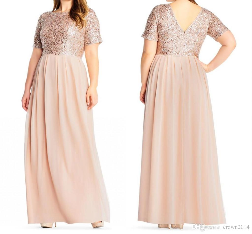 c0c052547604 2019 Blush Sequin Bridesmaid Dresses Short Sleeves Chiffon Floor Length V  Back Wedding Guest Gowns Plus Size Long Maid Of Honor Dress Cheap Adult  Bridesmaid ...