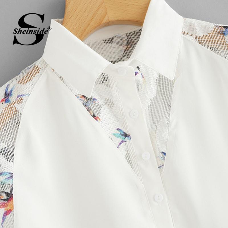 Sheinside Fischnetz Panel High Low Shirt 2018 Sommer Flügelärmeln Kontrast Mesh Plain Tops Frauen Beige Büro Damen Casual Bluse