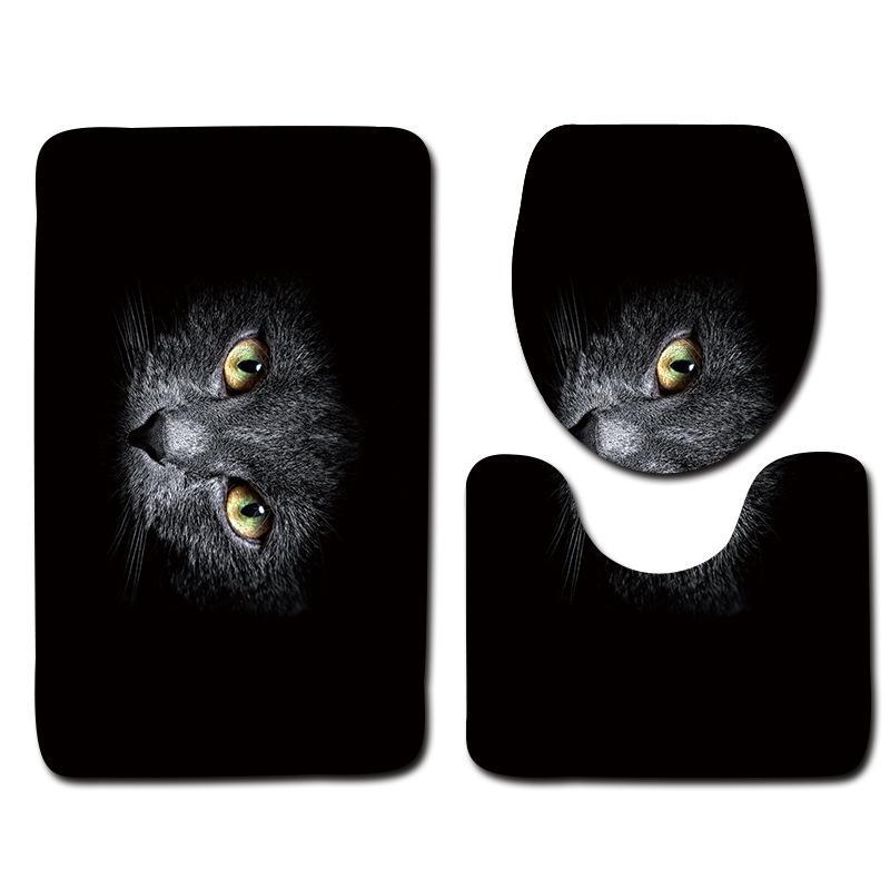 prodigious Black Bathroom Rug Sets Part - 14: 2019 Black Bathroom Mat Set Cat Pattern Anti Slip Bath Mat Soft Foam Bathroom  Rug Modern Toilet Mat Sets From Onecolor, $31.31 | DHgate.Com