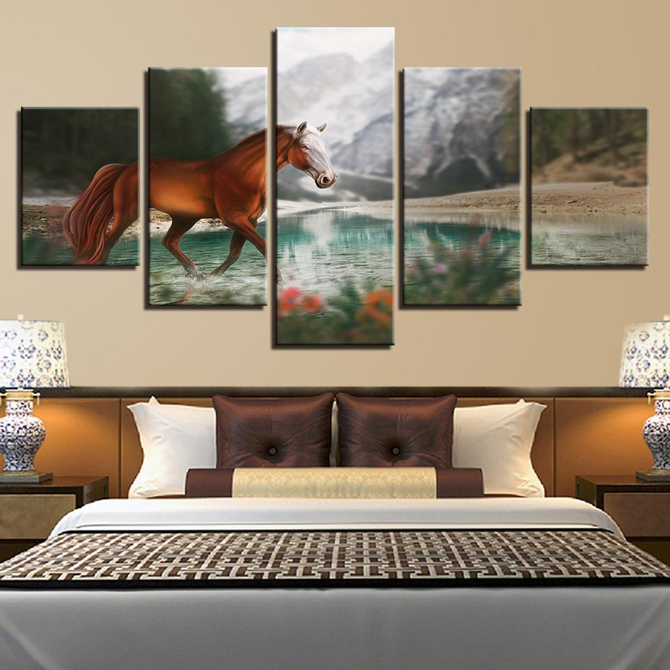 Wall Art Canvas Pictures Frame 5 Pieces Horse Painting For Living Room HD Printed Snow Mountain River Natural Poster Home Decor