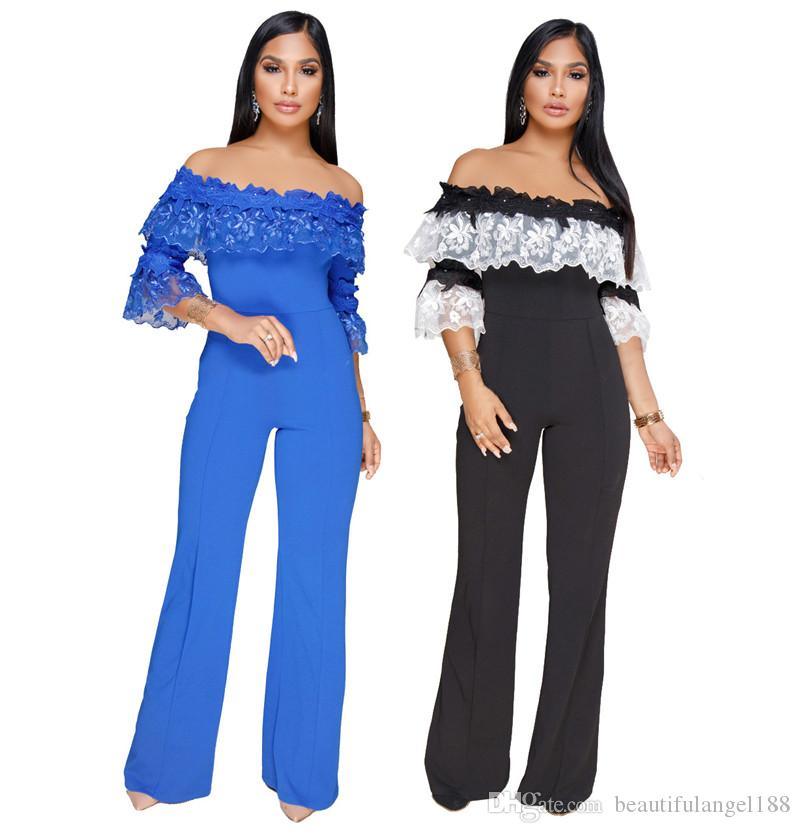 ec36980177a8 2019 Lace Embroidery Off Shoulder Loose Jumpsuits Plus Size Women Sexy  Slash Neck Flare Sleeve Wide Leg Pants Ladies Rompers From  Beautifulangel188