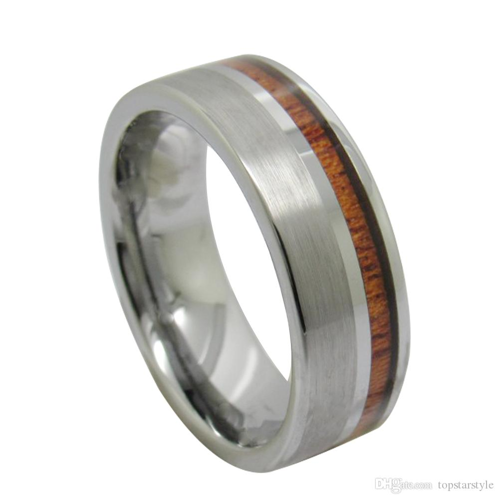 Free Shipping 8mm Wholesales Brush Tungsten Carbide Ring with wood inlay for Men Cool Fashion tungsten jewelry ring US size 4 to 17 big size