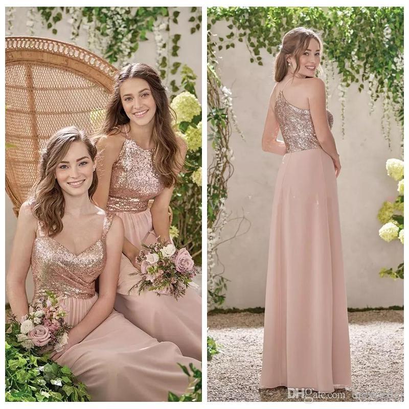 053000e9cccf 2018 Cheap Rose Gold Sequins Top Bridesmaid Dresses A Line Spaghetti  Chiffon Cheap Long Beach Wedding Gust Dress Maid Of Honor Gowns Camo Bridesmaid  Dresses ...
