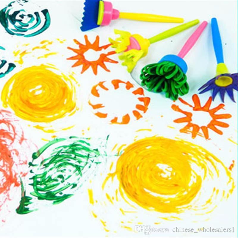 Factory Kids Drawing Toys DIY Painting Tools Creative Flower Stamp Sponge Brush Set Art Supplies For Children