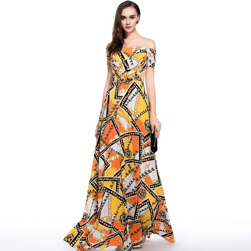 ee02673564e77 New Arrival 2018 Women's Sexy Off the Shoulder Floral Printed Ruched Bodice  A Line Long Fashion Party Prom Casual Dresses