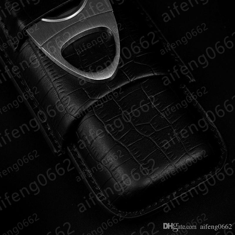 Мода классическая оптовая цена 2 трубки держатель сигары чехол черный Крокодил шаблон кожаный резак Fit COHIBA сигары