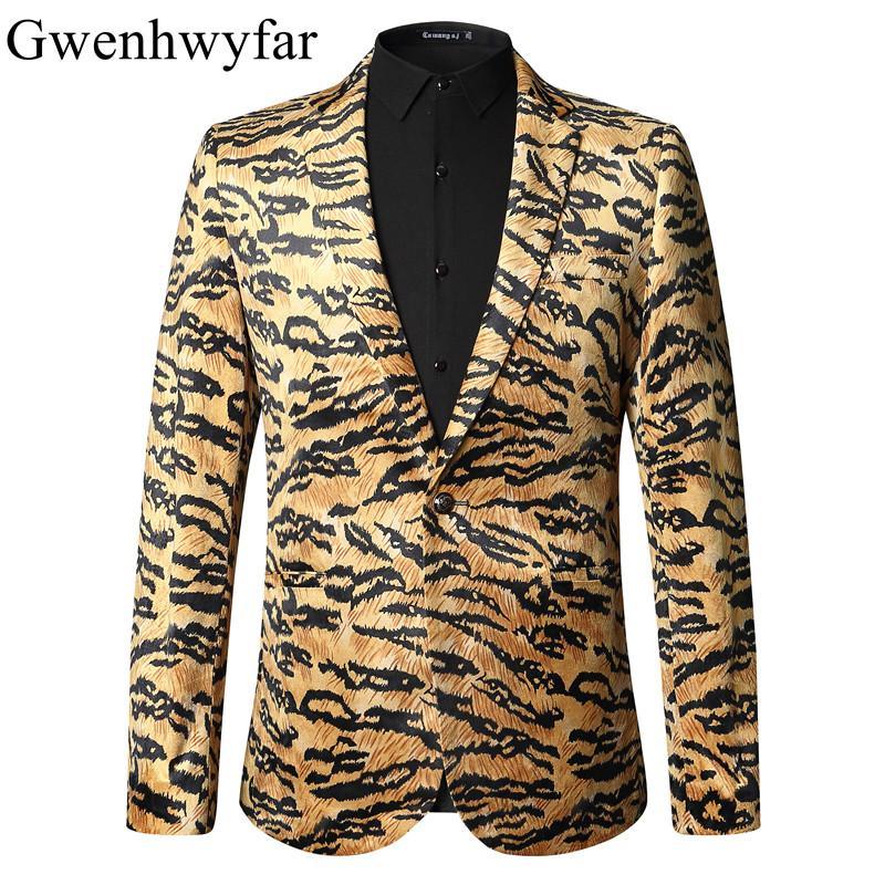 Acquista 2018 Breve Lunghezza Leopard Blazer Uomo Slim Fit Tigre Modello  Blazer Homme Moda Luxury Wedding Stage Giacche Cantanti XS XL A  113.35 Dal  ... ccbb5737701