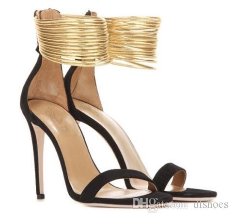 89ef72184ad527 Großhandel 2018 Neue Schwarz Beige Sexy Offene Spitze Frauen High Heel  Sandaletten Gold Runde Band Frauen Sommer Sandalen Schuhe Frauen Von  Dlshoes