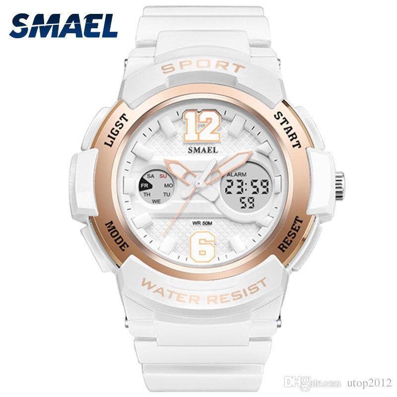 a2c6663007c3 Satın Al DHL Toptan SMAEL Spor Bayanlar İzle LED Beyaz Saat Kuvars İzle  Relojes Para Mujer 1632 Dijital LED Su Geçirmez Kadınlar Saatler