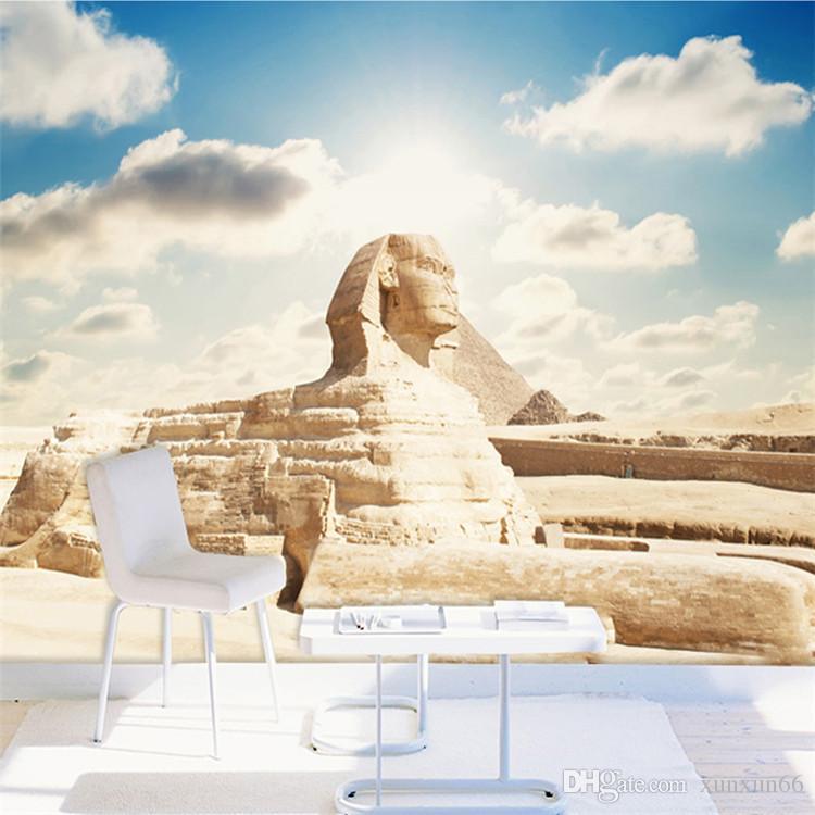 사용자 정의 3D 사진 배경 화면 클래식 이집트 스핑크스 대형 벽화 거실 침실 사무실 TV 배경막 벽지 홈 장식