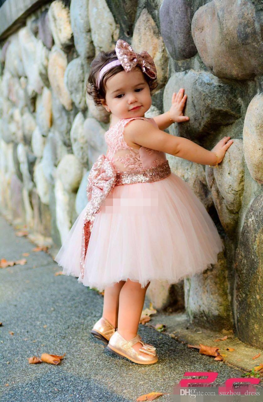 Baby Infant Toddler Birthday Party Dresses Blush Pink Rose Gold Sequins Bow Lace Crew Neck Tea Length Tutu Wedding Flower Girl Dresses 2017