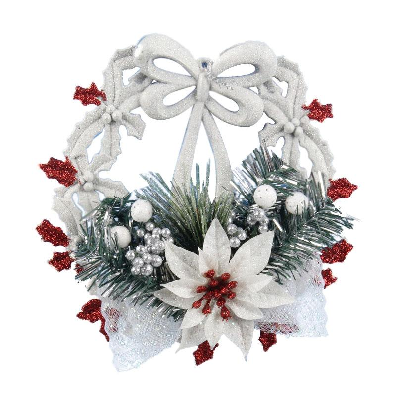 Hot White Christmas Home Door Window Ornaments Christmas Decoration Xmas Tree Hanging Decor, A wreath with a bow-knot