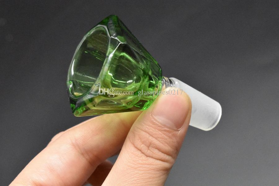 Мода Алмазная стеклянная чаша кусок 14 мм 18 мм мужской совместное чаша для мензурки бонги курительные аксессуары дешевые цена 2 шт.