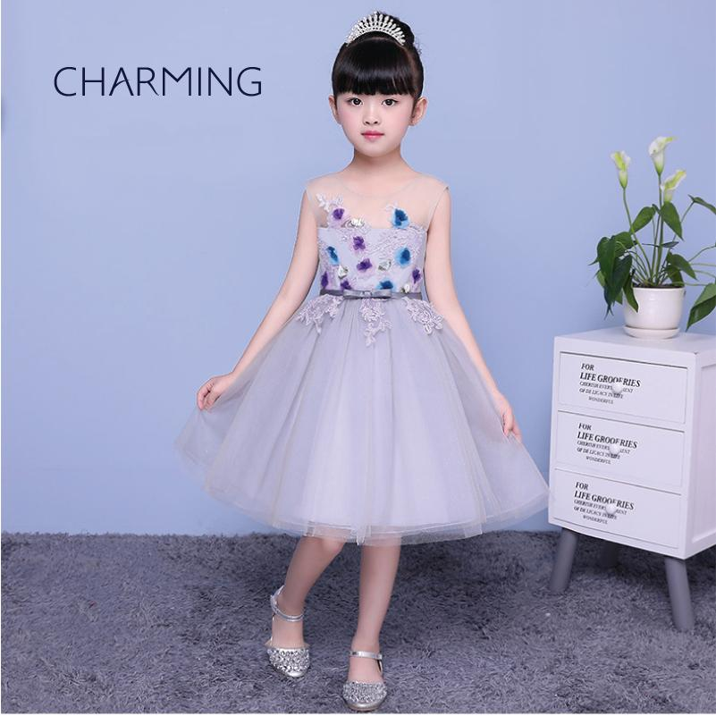 Beautiful Children Chiffon Sleeveless Flower Girls Dresses Round Neck High-low Kids Casual Daily Holiday Party Beach Parties Dress Flower Girl Dresses