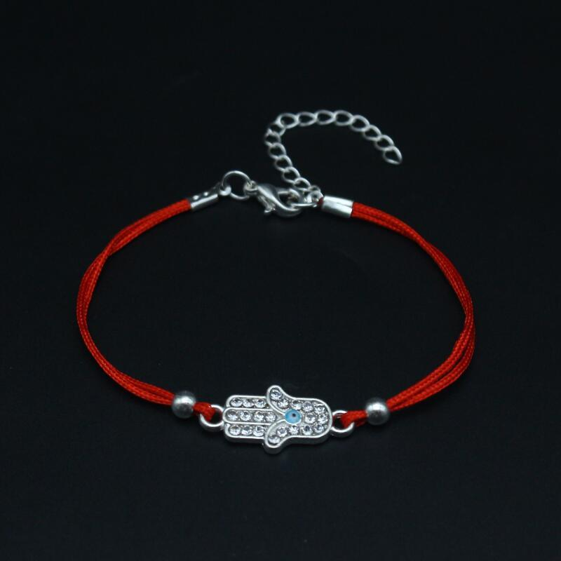 Cute Bear Brand Inlay Crystal Blue Eye Hamsa Hand Bracelets Charm Lucky Red Rope Bracelet For Women Friendship Bracelet Jewelry