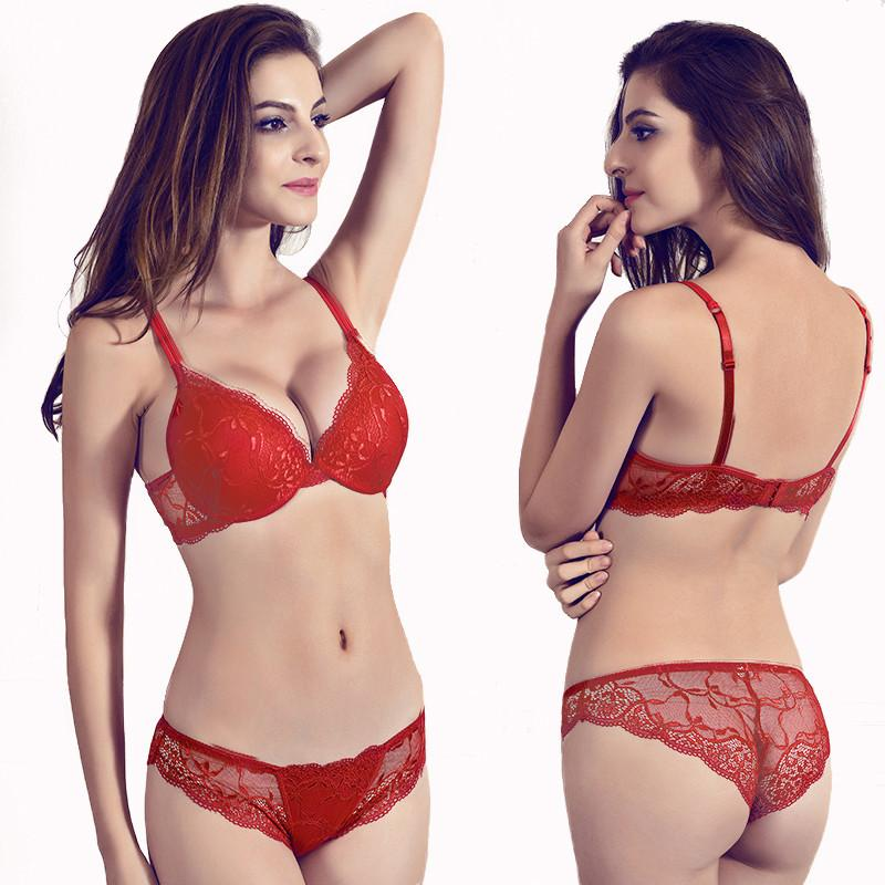7d380c11a08 Gather Underwear Women Set Cotton Thick Red Brassiere Lace Sexy Bra Set  Plus Size C D Cup Push Up Bra And Panties Set Lingerie C18111601 Bras And Panty  Sets ...