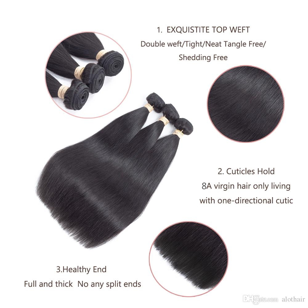 8A Grade Brazilian Virgin Hair Bundles Straight Hair 360 Lace Frontal with 3 Bundles 100% Unprocessed Virgin Human Hair Extensions