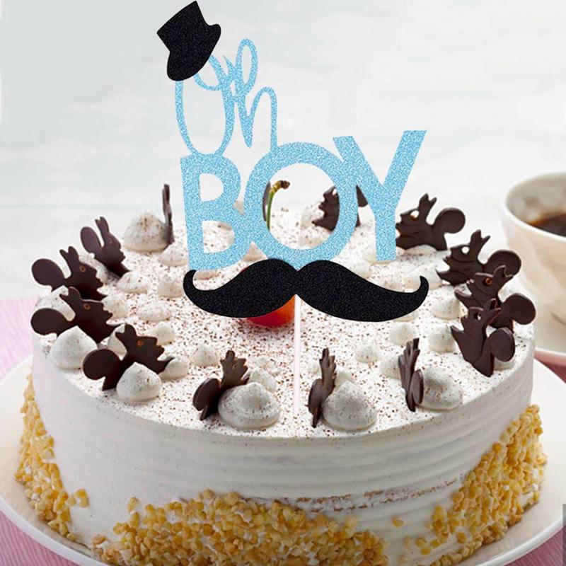 2019 New Glitter Blue Mustache Little Man Cake Topper Oh Boy