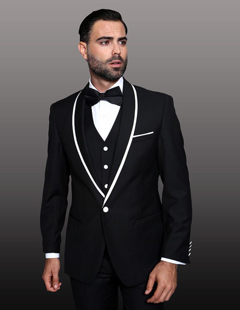 d34351316 Men Suits 2018 Black Shawl Lapel Wedding Suits Bridegroom Custom ...