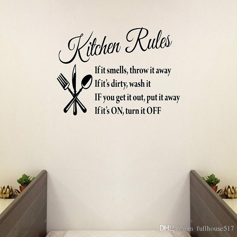 Kitchen Rules Quotes Family Handmade Wall Decals Wall Stickers Removable  Vinyl Arts for Children Day Bedrooms Family Playroom Classroom
