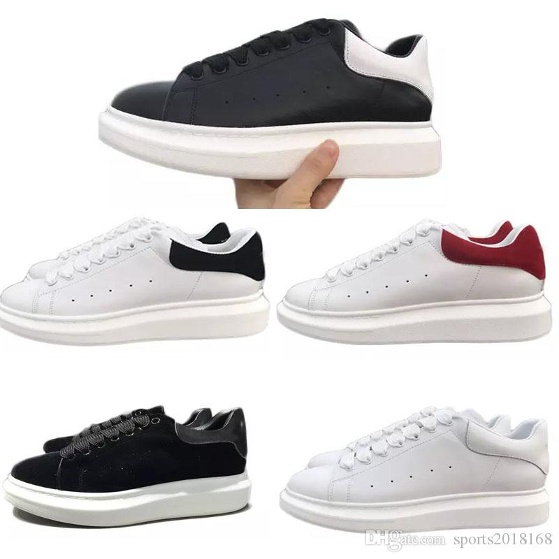 2018 New Mens Womens Fashion Luxury White Leather Platform Shoes Flat Casual Shoes Lady Black Red Pink Sneakers