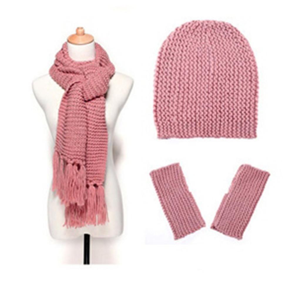 620d507e9d2 2019 New Winter Scarf Set Outdoor Warm Hat Beanie Thick Scarf Gloves Set  Ladies Autumn Winter Wool Hat Gloves Three Piece From Haoyunduo