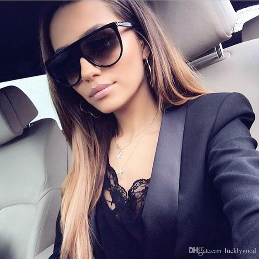 dd36d21d25 2018 New Fashion Sunglasses Women Flat Top Style Brand Design Vintage Sun  Glasses Female Big Frame Shades Glass UV400 Victoria Beckham Sunglasses ...