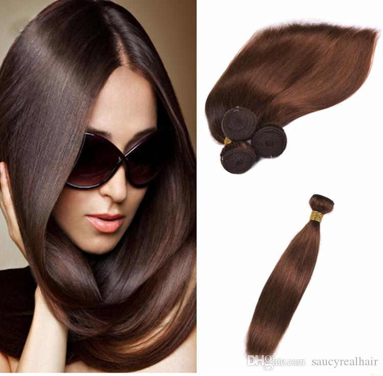 Peruvian Indian Malaysian Cambodian Brazilian Virgin Hair Weave Bundles Straight wave Human Hair Extensions, Brown Color hair