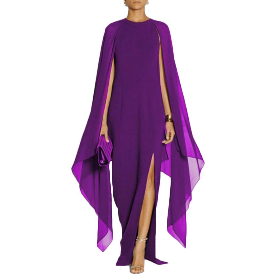 2019 Purple Patchwork Long Chiffon Dress Women Cloak Sleeves ...