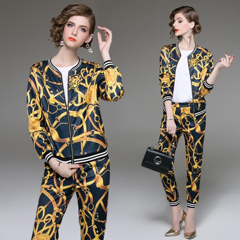 909d1ce72775 Fashion New Women Set Printed Jacket And Pants Autumn Two Piece Set ...