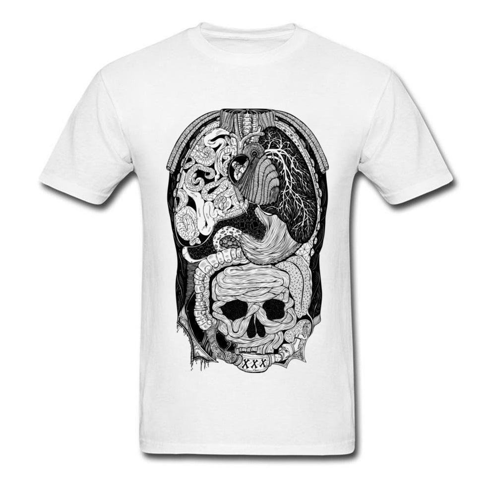 Gross Anatomy 2018 Men Skull Print T Shirt Black White Classic Color ...