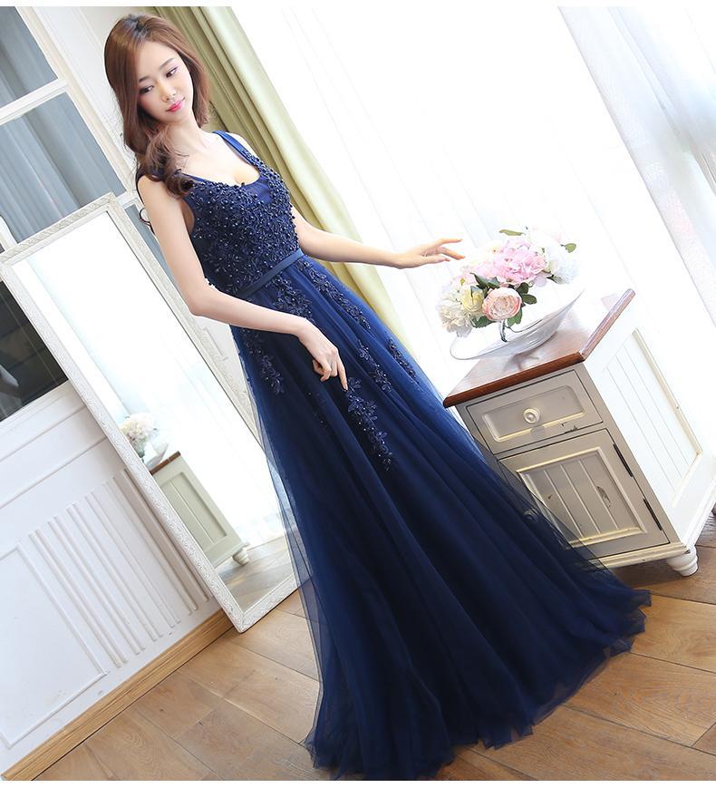 Perlen Abendkleider Rock Blue Bead Applique Würdige Atmosphäre Braut Toast Kleidung Lange Jahre Host Female Brautjungfernkleider