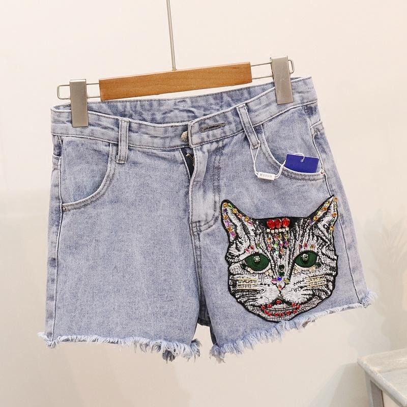 a23d4df459 2019 Summer Fashion Women Denim Shorts Cat Embroidered Diamond Washed Jean  Shorts High Waisted From Shengui, $33.6 | DHgate.Com