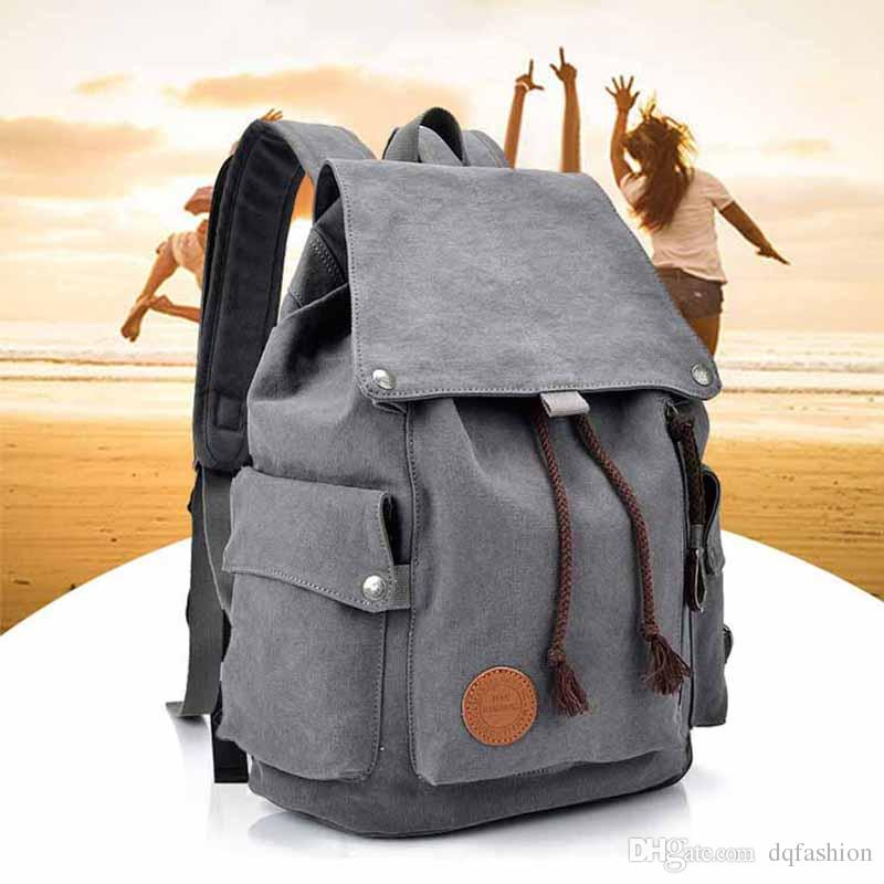 2018 Men S Shoulder Bag Travel Canvas Backpack Personality College Bag  Solid Color Retro Casual Computer Bag School Bags For Teens Backpack Bags  From ... c9a091d32c0ee