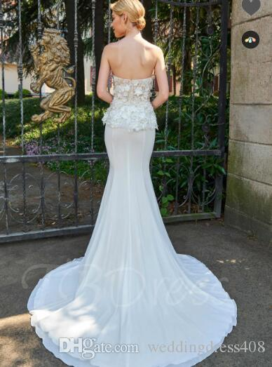 Strapless Little Flowers Court Train Mermaid Wedding Dress