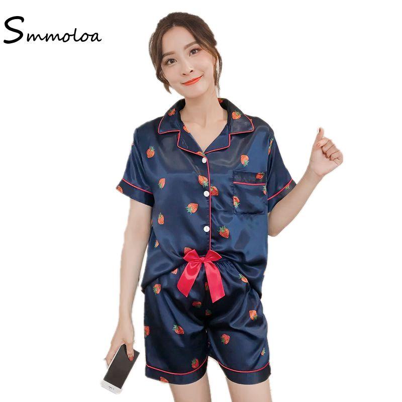 e37bd5e66523 2019 Wholesale Silk Pajamas Shorts Set Sexy Summer Cute Print Pyjamas Set  Satin Sleepwear From Clothesg009