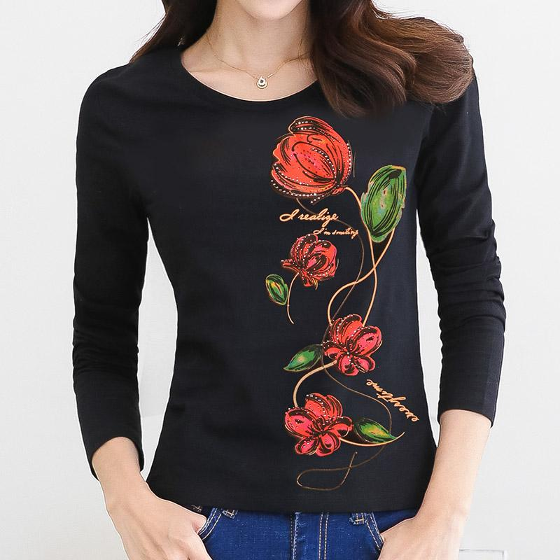 2018 Diamond Shirt Rhinestone T Women Print Autumn Woman dCorBeWx