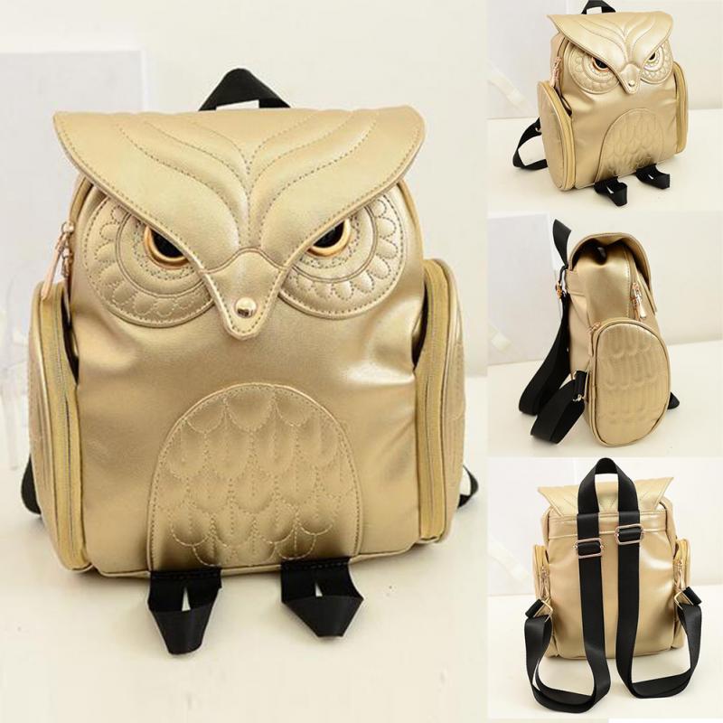2019 Fashion Newest Stylish Cool PU Leather Owl Backpack Fashion Women  Backpack Female Single Shoulder Bag School Bags Gold Black Pink Blue  Bookbags ... 1b9303f69029e