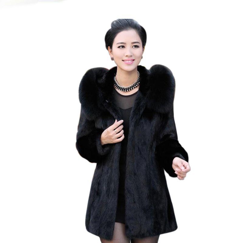 Acheter Femmes Manteau D hiver 2018 Mode Mince Chaud Manteau En Fourrure  Avec Capuche De Haute Qualité Élégant Dames Manteaux De Fourrure Manteau  Noir De ... e7b834475634