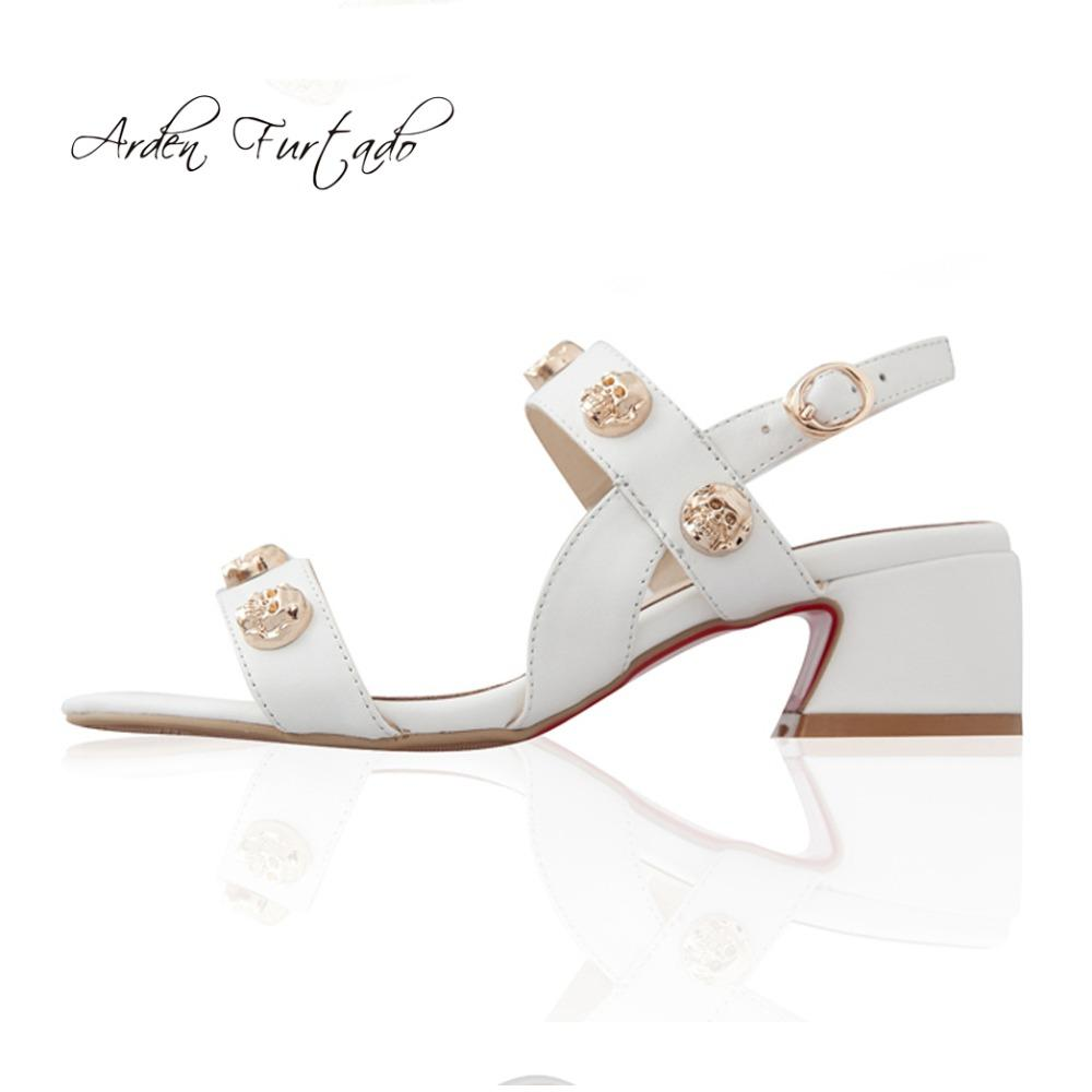 Arden Furtado 2018 Summer Genuine Leather Buckle Strap White Sandals ... 1ca2861de33c